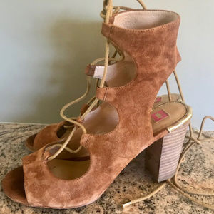Elaine Turner Lace Up Suede/Leather Heels